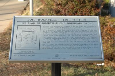 1803 Plan of Rockville and Boundary Stone Marker Photo, Click for full size