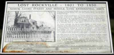 North Adams Street and Middle Lane Residential Area Marker image. Click for full size.