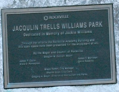 Jacqulin Trells Williams Memorial Plaque image. Click for full size.