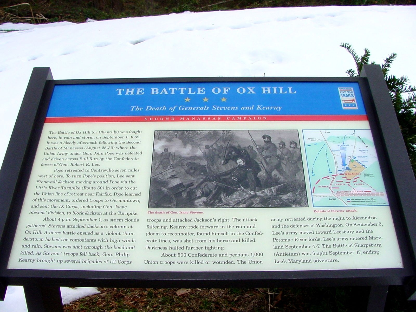 The Battle of Ox Hill Marker