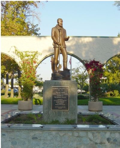 George Chaffey Jr. Statue and Plaque image. Click for full size.