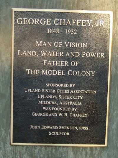George Chaffey Jr. Plaque image. Click for full size.