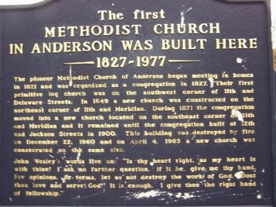 The First Methodist Church in Anderson was Built Here 1827 - 1977 Marker image. Click for full size.