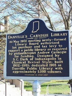 Side one of Danville's Carnegie Library Marker image. Click for full size.