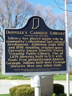 Side two of Danville's Carnegie Library Marker image. Click for full size.