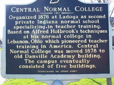 Side one of the Central Normal College Marker. Photo, Click for full size