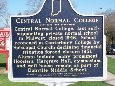 Side two of the Central Normal College Marker. image. Click for full size.