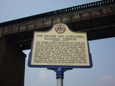 The Orange And Alexandria Railroad Trestle Marker Photo, Click for full size