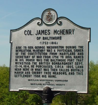 Col. James McHenry of Baltimore Marker Photo, Click for full size