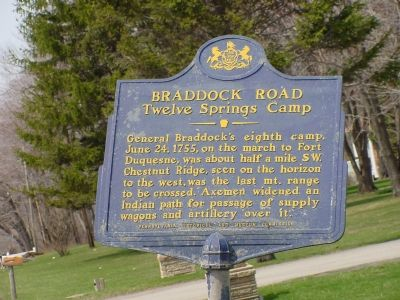 Braddock Road - Twelve Springs Camp Marker image. Click for full size.