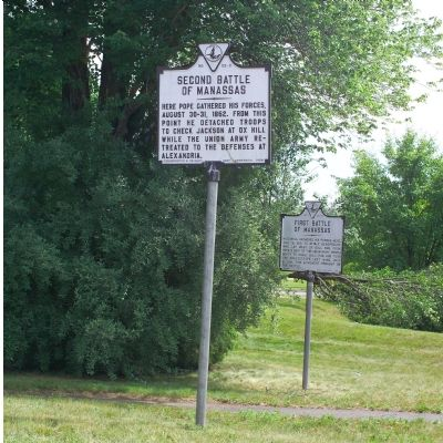 Second and First Battle of Manassas Markers image. Click for full size.