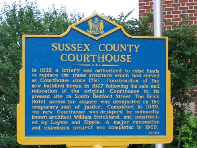 Sussex County Courthouse Marker image. Click for full size.