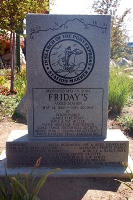 Friday's Added Station Marker, Front image. Click for full size.