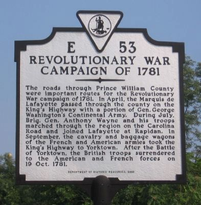 Revolutionary War Campaign of 1781 Marker image. Click for full size.