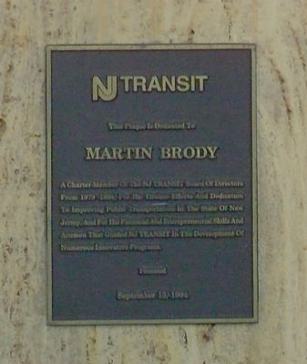 New Jersey Transit Martin Brody Plaque Photo, Click for full size
