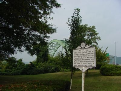 Wheeling Marker with Interstate 70 Bridge in the Background image. Click for full size.