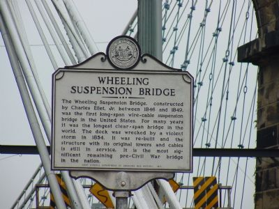 Wheeling Suspension Bridge Marker Photo, Click for full size