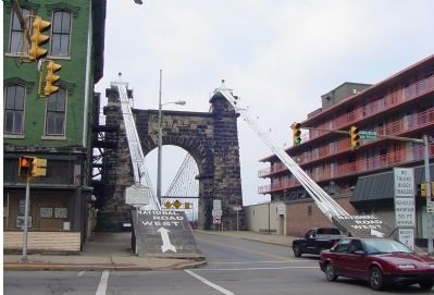 Wheeling Suspension Bridge and Marker image. Click for full size.