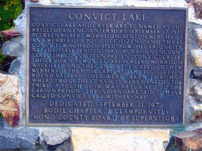 Convict Lake Marker Photo, Click for full size