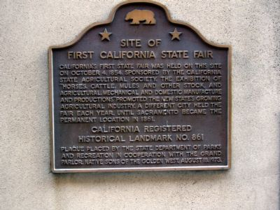 Site of First California State Fair Marker image. Click for full size.