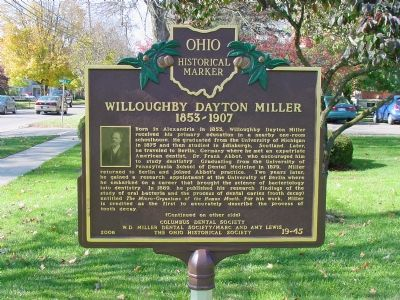 Willoughby Dayton Miller Marker, Side One Photo, Click for full size