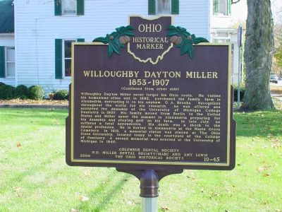 Willoughby Dayton Miller Marker, Side Two Photo, Click for full size