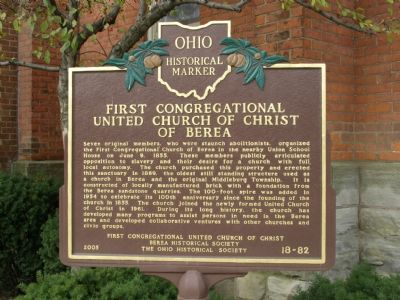 First Congregational - United Church of Christ of Berea Marker image. Click for full size.