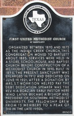 First United Methodist Church of Bartlett Marker image. Click for full size.