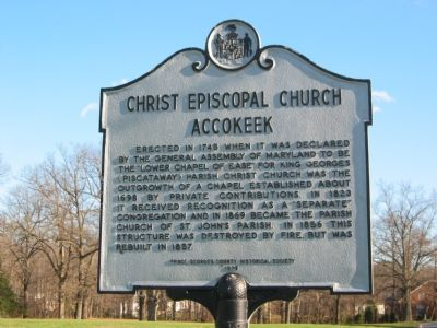 Christ Episcopal Church Accokeek Marker Photo, Click for full size