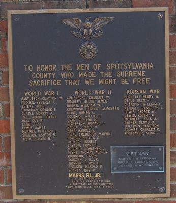Spotsylvania County Honor Roll Marker image. Click for full size.