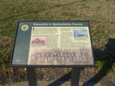 Education in Spotsylvania County Marker Photo, Click for full size