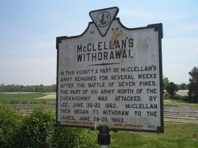 McClellan's Withdrawal marker image. Click for full size.