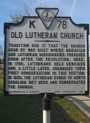 Old Lutheran Church Marker image. Click for full size.