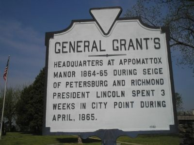 General Grant's Headquarters marker at City Point image. Click for full size.