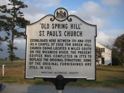 """Old Spring Hill"" St. Paul's Church Marker Photo, Click for full size"