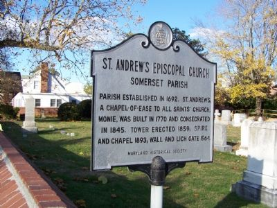 St. Andrew's Episcopal Church Somerset Parish Marker image. Click for full size.