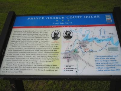 """Prince George Court House  -  Long, Hot March"" Civil War Trails marker image. Click for full size."