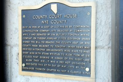 County Court House - Nye County Marker image. Click for full size.