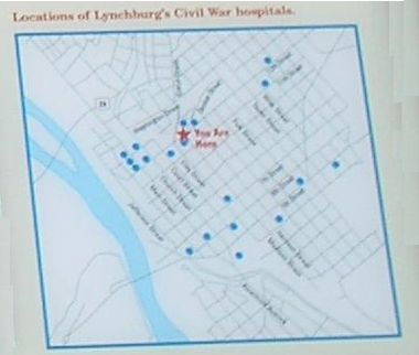 Locations of Lynchburg's Civil War hospitals image. Click for full size.