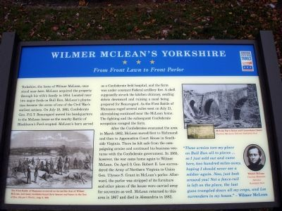 Wilmer McLean's Yorkshire From Front Lawn to Front Parlor Marker image. Click for full size.