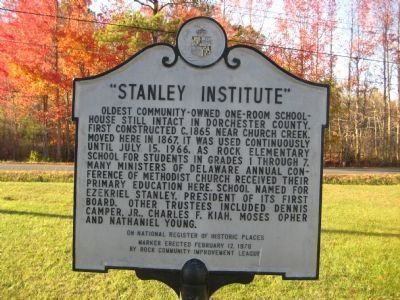 """Stanley Institute"" Marker Photo, Click for full size"