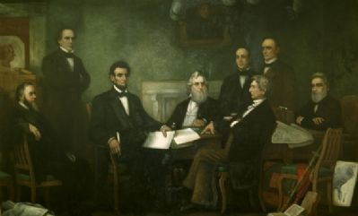 Image: Francis Bicknell Carpenter's painting, First Reading of the Emancipation Proclamation of President Lincoln. Apologies if link has expired.