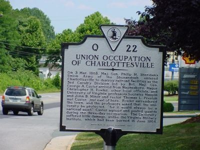 Union Occupation of Charlottesville Marker image. Click for full size.