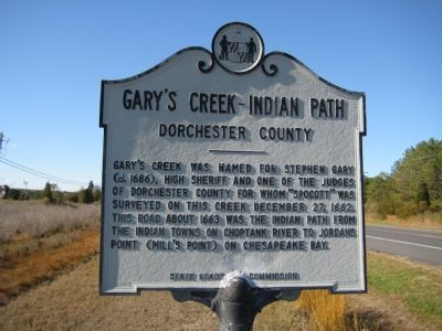 Gary's Creek - Indian Path Marker Photo, Click for full size