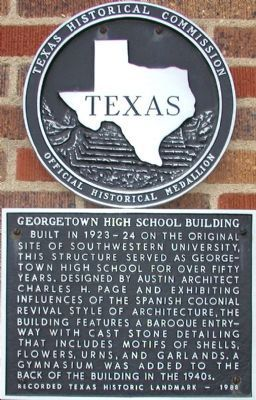 Georgetown High School Building Marker image. Click for full size.