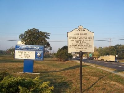 "John Hanson - Oxon Hill marker with marquee for the adjacent ""John Hanson Montessori School"" image. Click for full size."
