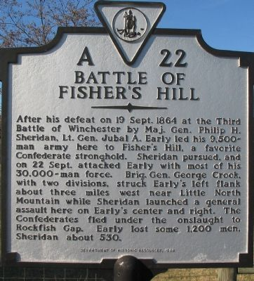 Bttle of Fisher's Hill Marker image. Click for full size.