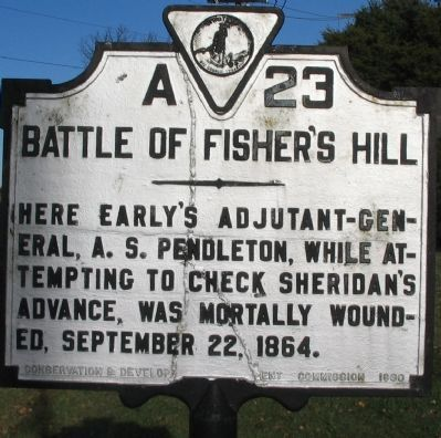 Battle of Fisher's Hill Marker image. Click for full size.