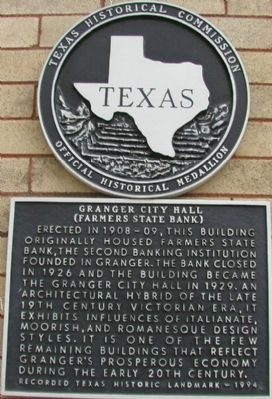 Granger City Hall (Farmers State Bank) Marker image. Click for full size.