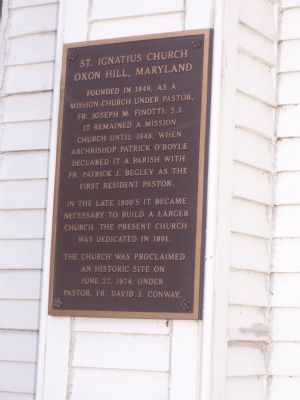 St. Ignatius Church, Oxon Hill, marker image. Click for full size.